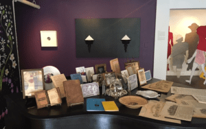 A Collection of suffrage related artifacts, and works by Portia Munson, Tricia Wright and Susan Mastrangelo