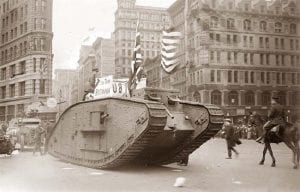 photo of British tank on 5th Ave in New York City in World War I