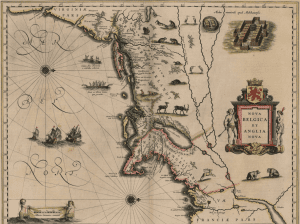 Map of New Netherland and New England, with north to the right