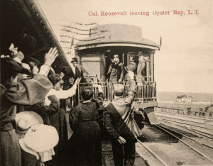 Theodore Roosevelt departing the historic Oyster Bay Railroad Station circa 1900