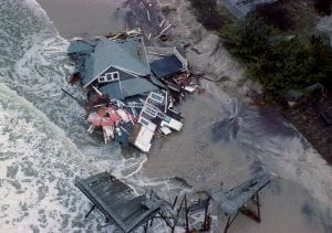 An aerial view of a house on the ocean side of Fire Island that was washed away by the surge of the nor-easter. (Oct. 31, 1991)