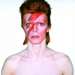 Photograph of david bowie from the album cover shoot for Aladdin Sane, 1973