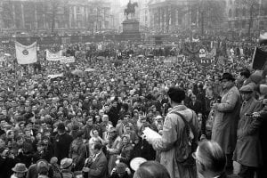 Canon John Collins of St. Paul's Cathedral, speaking for nuclear disarmament at protest in London's Trafalgar Square on April 3, 1961