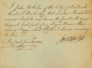 Birth registration of a slave in 1803
