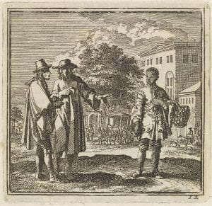 Two men pointing to a boy by Jan Luyken 1711