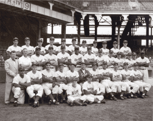young Marv Parshall Sr. (front left) poses with the members of the 1950 Brooklyn Dodgers.