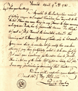 Daniel Burt letter to George Washington
