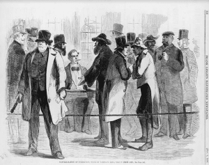 """Naturalization of Foreigners, Scene in Tammany Hall,"""" Frank Leslie's Illustrated Newspaper, November 8, 1856"""