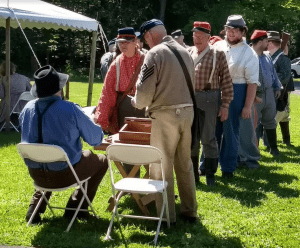 Soldiers line up for their pay at last year's Civil War Reenactment Weekend