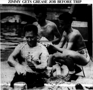 Charles Zimmy gets grease job before swim