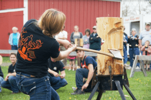 SUNY Cobleskill Woodsmen's Club demonstration