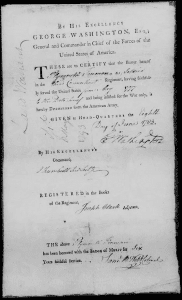 Plymouth Freeman military discharge papers signed by General George Washington