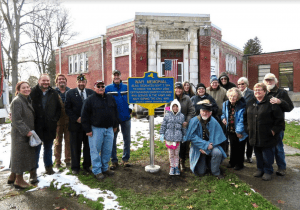 CAMP members gather at the dedication of the Pomeroy Foundation marker in front of the Memorial on Veterans Day 2018
