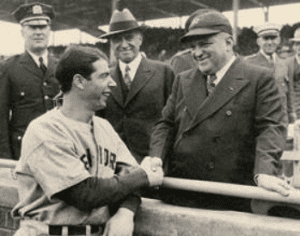 Joe DiMaggio with Mayor Fiorello H LaGuardia before the start of the 1938 World Series at Wrigley Field