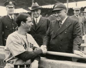Joe DiMaggio with Mayor Fiorello H LaGuardia before the start of the 1938 World Series at Wrigley Field