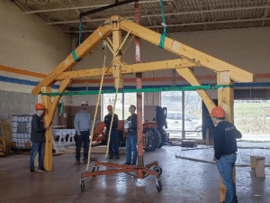 timber frame raising at the Finger Lakes Museum