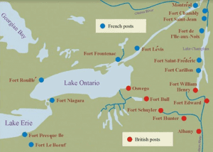 Map showing Fort Bulls relationship to other French and British posts in 1750