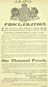 reward proclamation for William Lyon MacKenzie