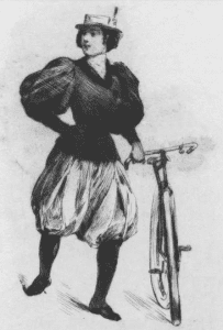 woman and bicycle illustration