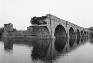 Schoharie Crossing on Erie Canal showing 9 arches of aqueduct at Fort Hunter