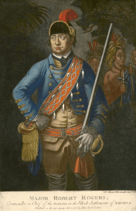 Color mezzotint of a representation of American ranger Robert Rogers by Johann Martin Will from the Anne S K Brown Military Collection
