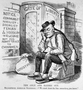 A political cartoon from 1882 criticizing Chinese exclusion