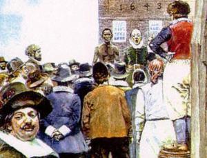 Harpers Magazine illustration of the New York City slave market in 1643