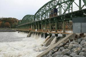 The three span dam at Lock 8 in Scotia in 2013