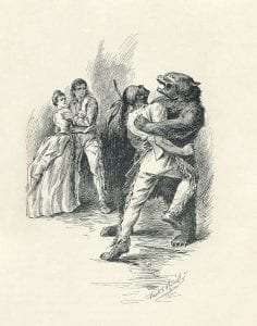 llustration from 1896 edition, by F.T. Merrill. The drawing depicts Hawk-eye (disguised as a bear) fighting Magua in the cave where Alice is held captive.