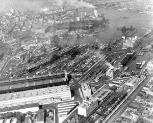 Aerial view of Brooklyn Navy Yard at peak activity, April 1945.