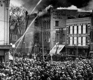 Fire at Rialto Theater in Glens Falls in 1925