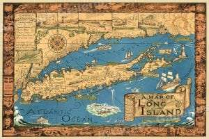 Long Island c1940s Souvenir Map