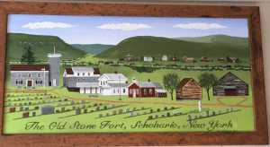 painting of Schoharies Old Stone Fort Museum Complex by local folk artist John Wilkinson