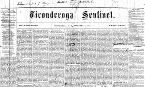 First Ticonderoga Sentinel Feb 1874