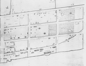 Map showing location of Downing house and grounds and Monell house