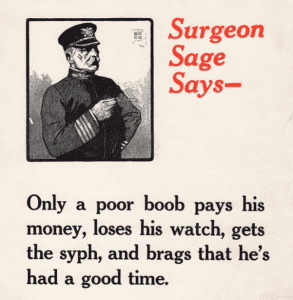 WW1 army poster promoting abstinence