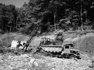 view of the core wall of the dam for the Rondout Reservoir during construction
