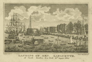 Landing of Gen Lafayette at Castle Garden New York 16th August 1824 courtesy New York Public Library Digital Collections