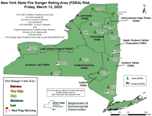 NYS Fire Danger Map 3-13-20
