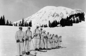 Ski troops training in the Rocky Mountains