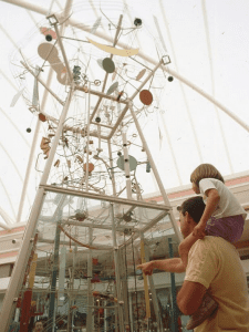 Spectators view the kinetic Perpetuball Motion Machine