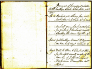 first two pages of Nelson Beachs 1841 journal provided by the Lewis County Historical Society