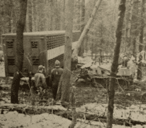 tractor trailer on snowmobile trail by NYS Forest Ranger Charles Severance