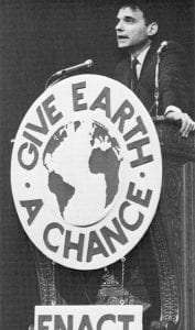 Consumer activist Ralph Nader urged Teach-In listeners to take part in broad-based citizen action to fight for a cleaner environment - Bentley Historical Library - U. Michigan