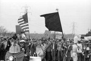 Students from the University of Wisconsin Green Bay march on the first Earth Day in 1970 - Photograph - University of Wisconsin Green Bay
