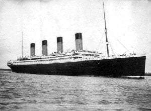 Starboard view of the White Star Line passenger liner R.M.S. embarking on its ill-fated maiden voyage. April 10, 1912 Near Liverpool, Merseyside, England, UK