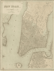1860 Map showing the Governors Island Manhattan and Brooklyn