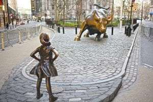 Fearless Girl sculpture Photo by Steven Gomez via Wikimedia Commons