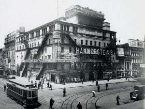 Hammerstein's Victoria Theater and Roof Garden, northwest corner of 42nd Street and 7th Avenue in Manhattan in 1908 courtesy Museum of the City of New York