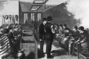 Interior of a NYC cigar factory before the strike of 1877